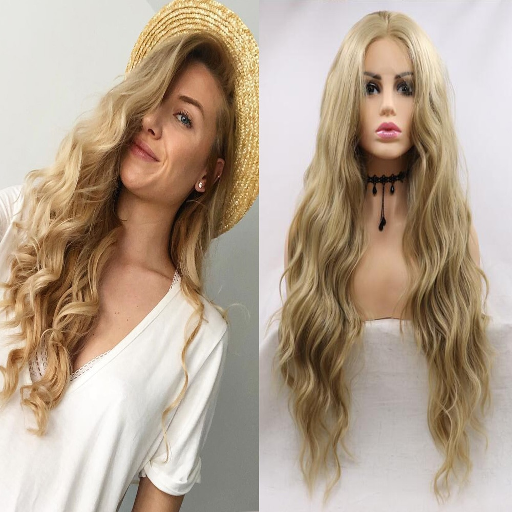 Deep Curly Blonde Synthetic Lace Front Wig Cici Hair Heat Resistant Replacement for Women Daily Wear Cosplay Make up Party