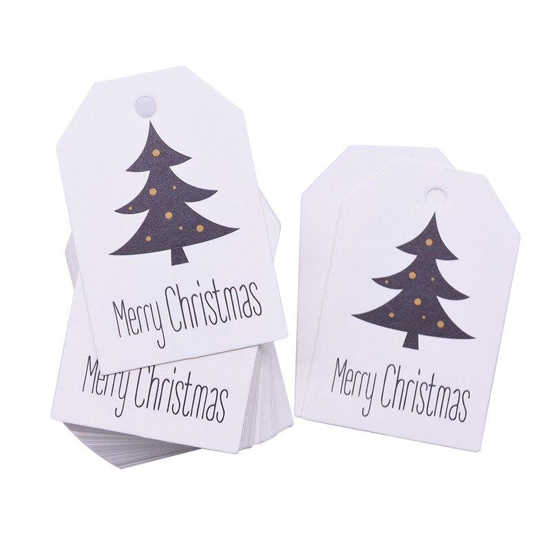 50 Uds 4,5*6,8 cm etiquetas de Feliz Navidad etiqueta papel Kraft tarjetas DIY producto etiqueta colgante bolsas de regalo de Navidad cajas suministros de embalaje