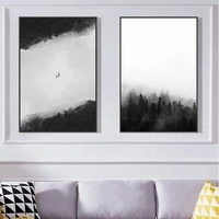 black and white forest landscape poster wall art decoration print simple printing decoration painting suitable for living room d