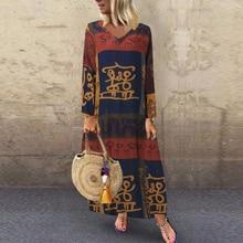 2020 Plus Size ZANZEA Autumn Long Sleeve Dress Women V-neck Maxi Long Vestidos Vintage Printed Cotton Kaftan Female Tunic Robe