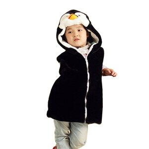 DOUBCHOW Cute Animal Vest Unisex Children's Cartoon Penguin Winter Hooded Kids Girls Boys Cotume Cosplay Outwear Coat Clothing