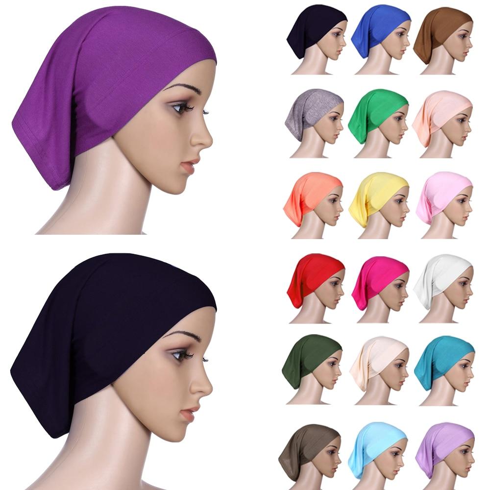 Muslim Women Head Scarf Cotton Underscarf Stretch Hijab Cover Headwrap Cap Shawl Islam Inner Headband Bonnet
