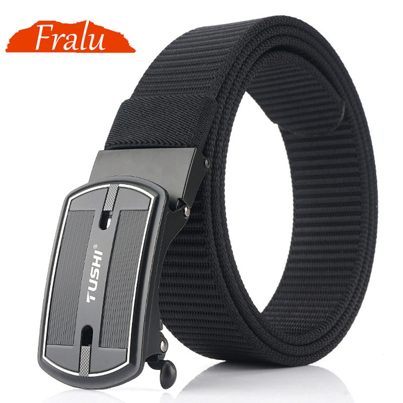 FRALU Official Product Fashion Nylon Men Belt Alloy Automatic Buckle Casual Canvas Trousers Belt Tank Pattern New Designer Belts becoming a product designer