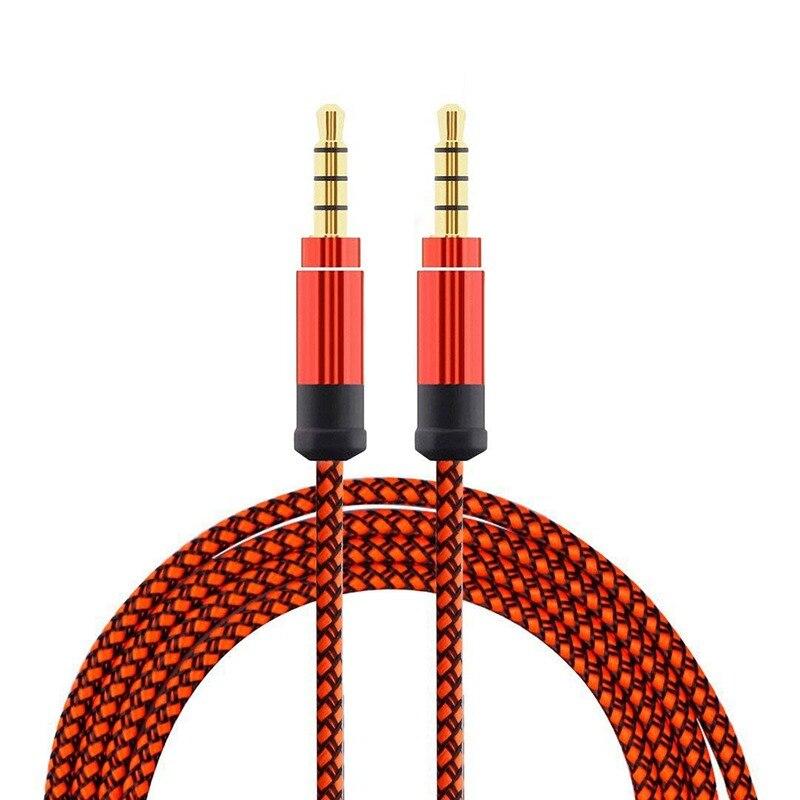 Оранжевый 1,5 метровый высококачественный плетеный металлический аудио кабель 3,5 мм AUX аудио кабель