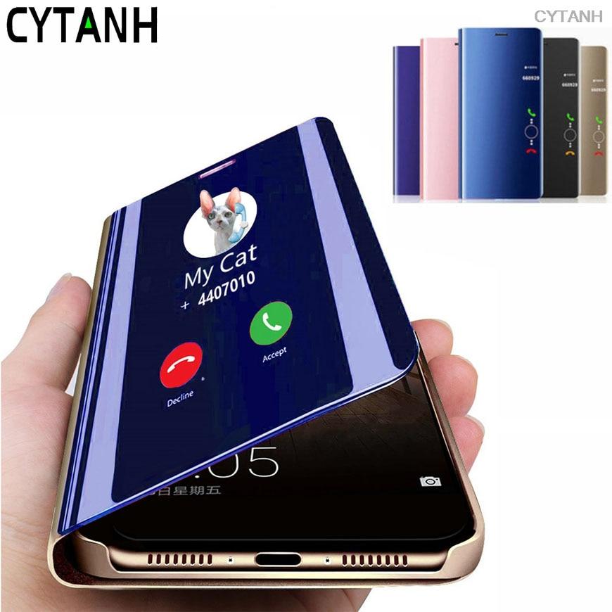 Camshield telefone capa traseira para samsung galaxy m10 m20 m30 m30s m31 m40 m60s m80s caso flip visão clara espelho inteligente meninas carcasa