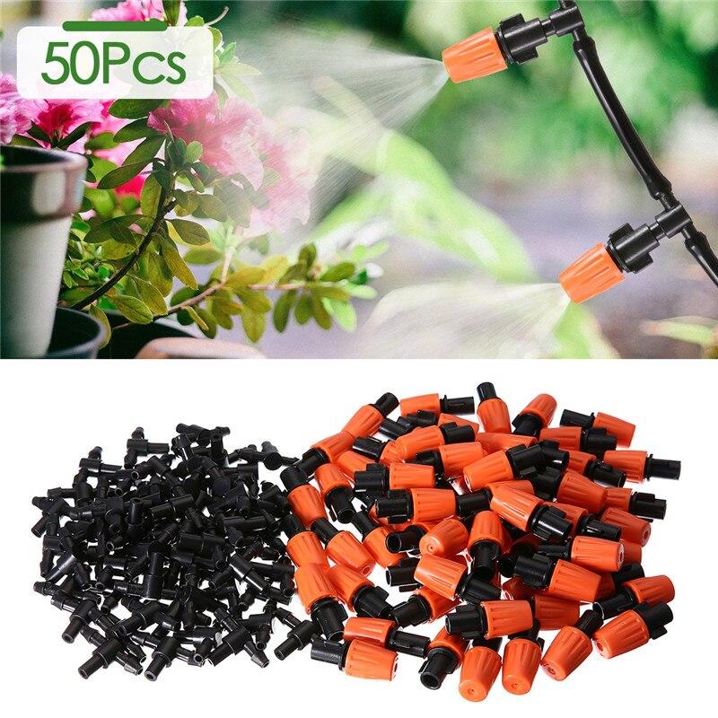 50 pces jardim plástico ajustável aspersão nebulização de irrigação por gotejamento cabeça de gotejamento para 4/7mm 1/4 polegada mangueira de tubulação fazenda rega