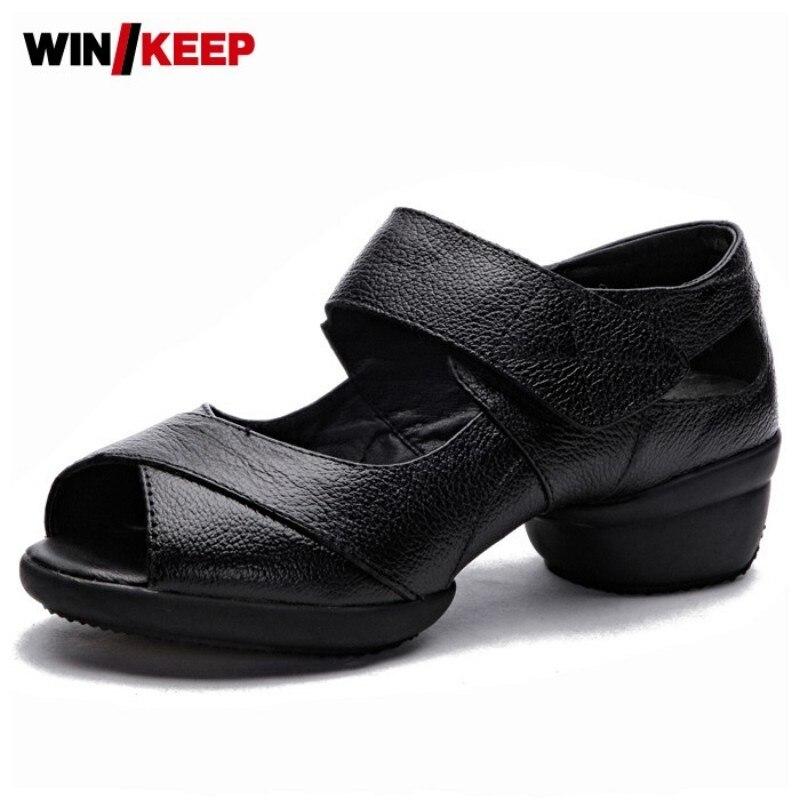 Sapatos de dança macia mulher verão chunky tênis modernos peep toe respirável jazz latina professor sapatos de dança esporte plus size 34-41