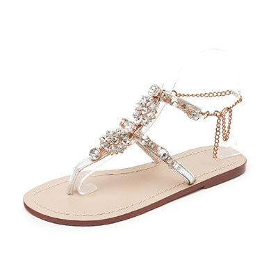 EPHER, sandalias de verano planas con joyas, chanclas bohemias, zapatos de mujer, sandalias de playa informales romanas sin cordones