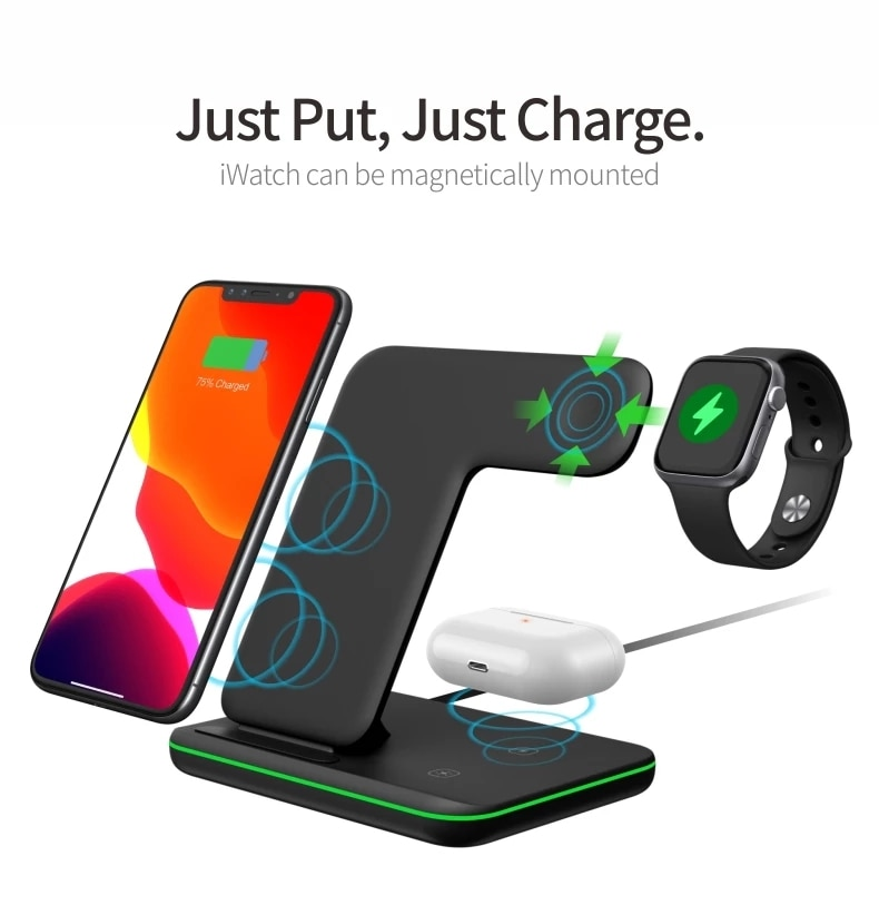 aliexpress.com - Wireless Charger Stand 15W Qi Fast Charging Dock Station for Apple Watch iWatch 5 AirPods Pro For iPhone 13 12 11 XS XR X 8