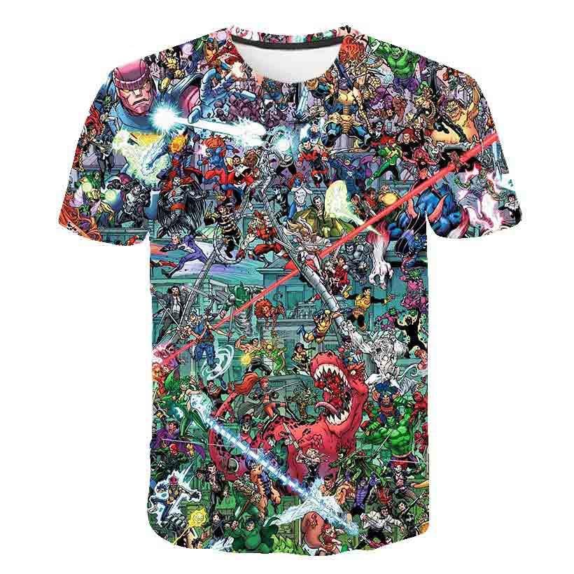 Camiseta con estampado 3D de Marvel, ropa de calle con chicas de Anime para niños, ropa para niños, camiseta divertida para bebés, camiseta de verano 2020, cuello redondo, manga corta