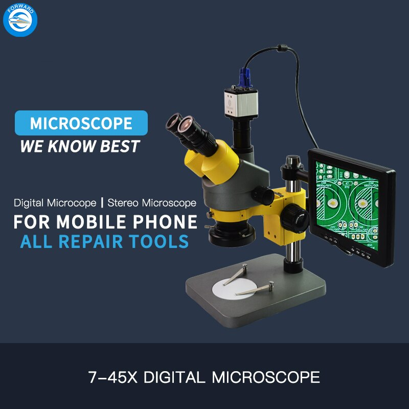 High Precision Trinocular Simul Focal Stereo Microscope With Camera 8 inch Lcd For iPhone IC Repair enlarge