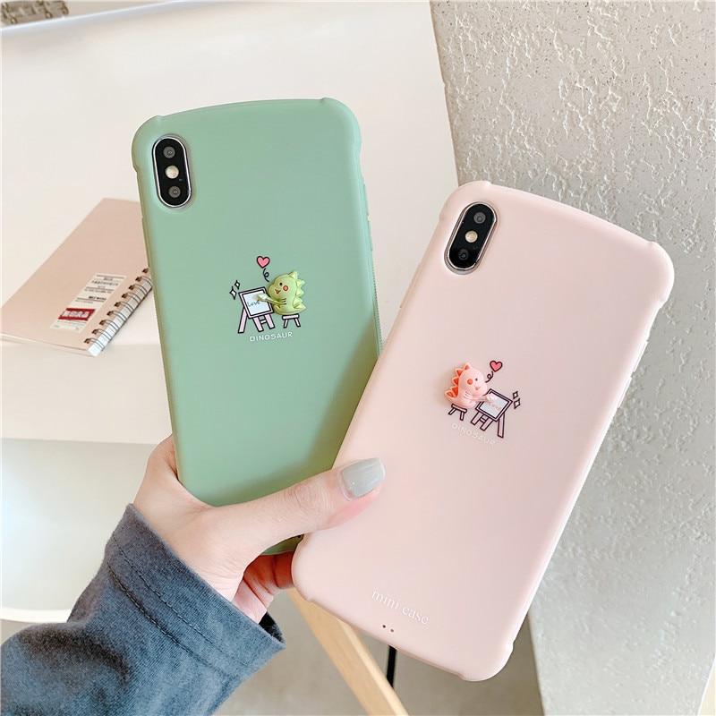 Funda de teléfono de dibujos animados 3D de dinosaurio de Color caramelo para iPhone 11 Pro Max X Xsmax XR 7 7 Puls 6 6S 7 8 Puls fundas de silicona suave