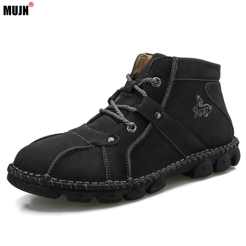 2021 Men Shoes Leather Causal Breathable High Top Flats Lace-up Sneakers Brand Male Footwear Plus Si