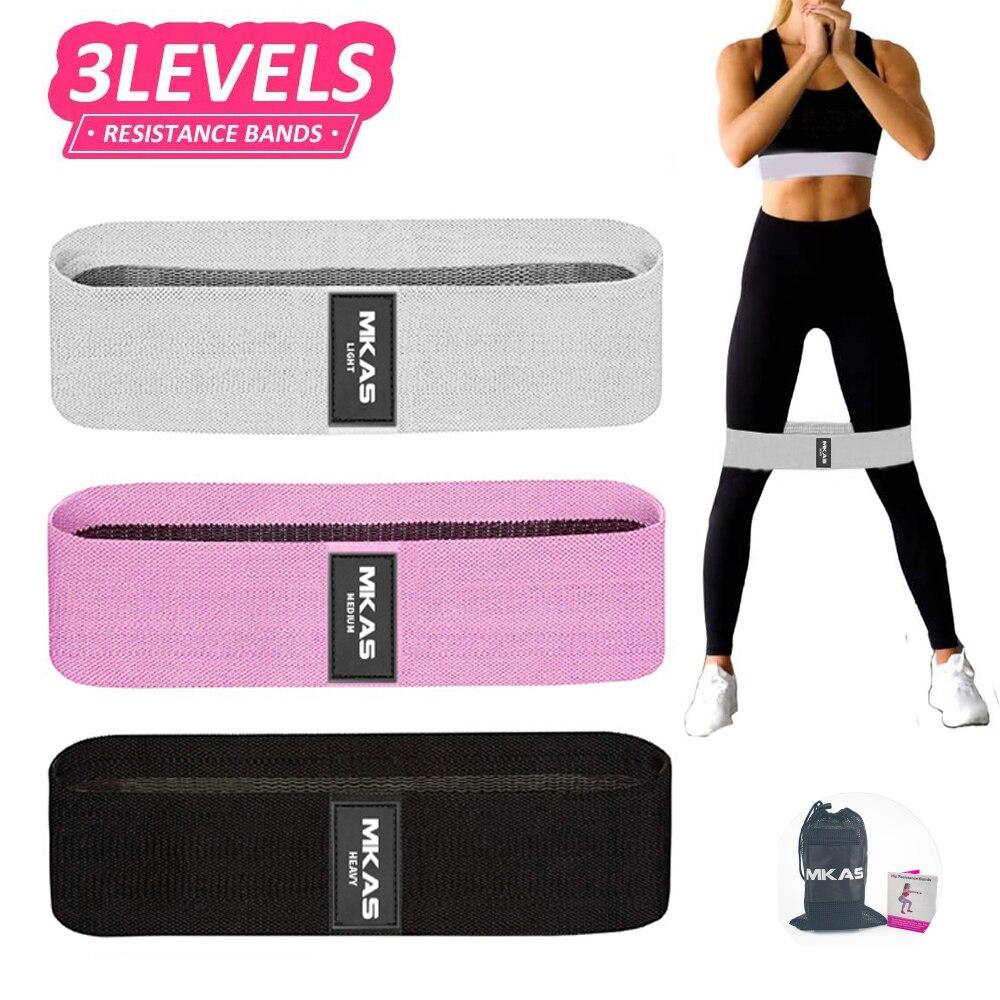 Faixas de resistência conjunto tecido exercício loop fitness yoga espólio hip treino elástico bandas 3-piece antiderrapante para perna