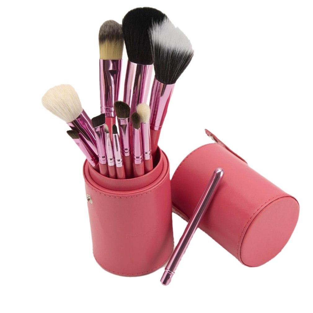 12 Makeup Brush Eyeshadow Brush Blush Brush Cylinder Makeup Brush Set Wool Barrel Tube Brush Beauty Makeup Tools aluminum tube nylon bevel blush brush