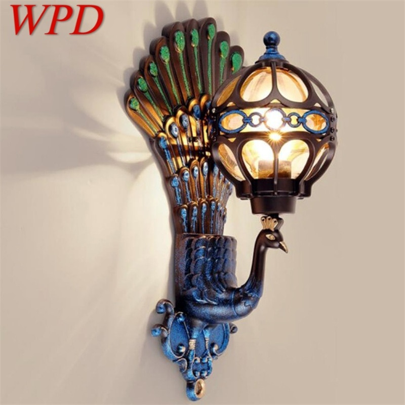 WPD Outdoor Wall Sconces Lamp Classical LED Peacock Light Waterproof Home Decorative For Porch