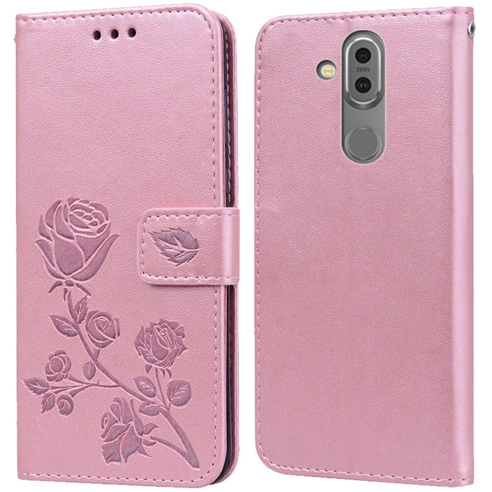 De cuero de lujo funda de libro con tapa para Nokia X7 X71 7 Plus de 7,1 de 7,2 Rosa flor cartera bolso de funda de teléfono coque