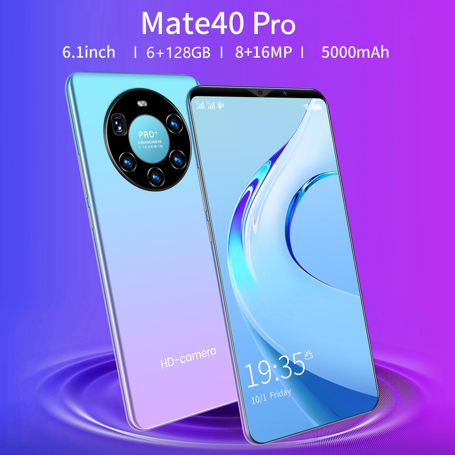 Global Version Mate40 Pro 6.1-inch Smartphone 8GB 256GB Android 10 5000mAh Unlocked Google Play WiFi GPS 5G Mobilephone
