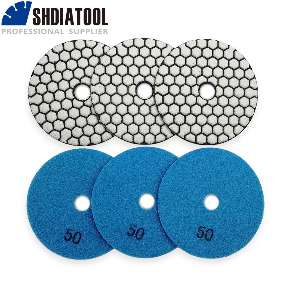 SHDIATOOL 6pcs Diamond Dry Polishing Pad Granite Marble Flexible Resin Sanding Disc 4