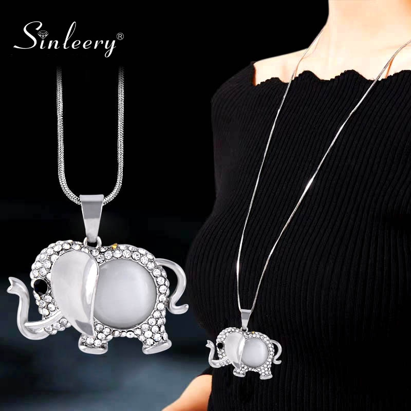 Sinleery chique opala elefante pingente colar amarelo ouro prata cor corrente azul zircão longo colar feminino jóias my026 ssa
