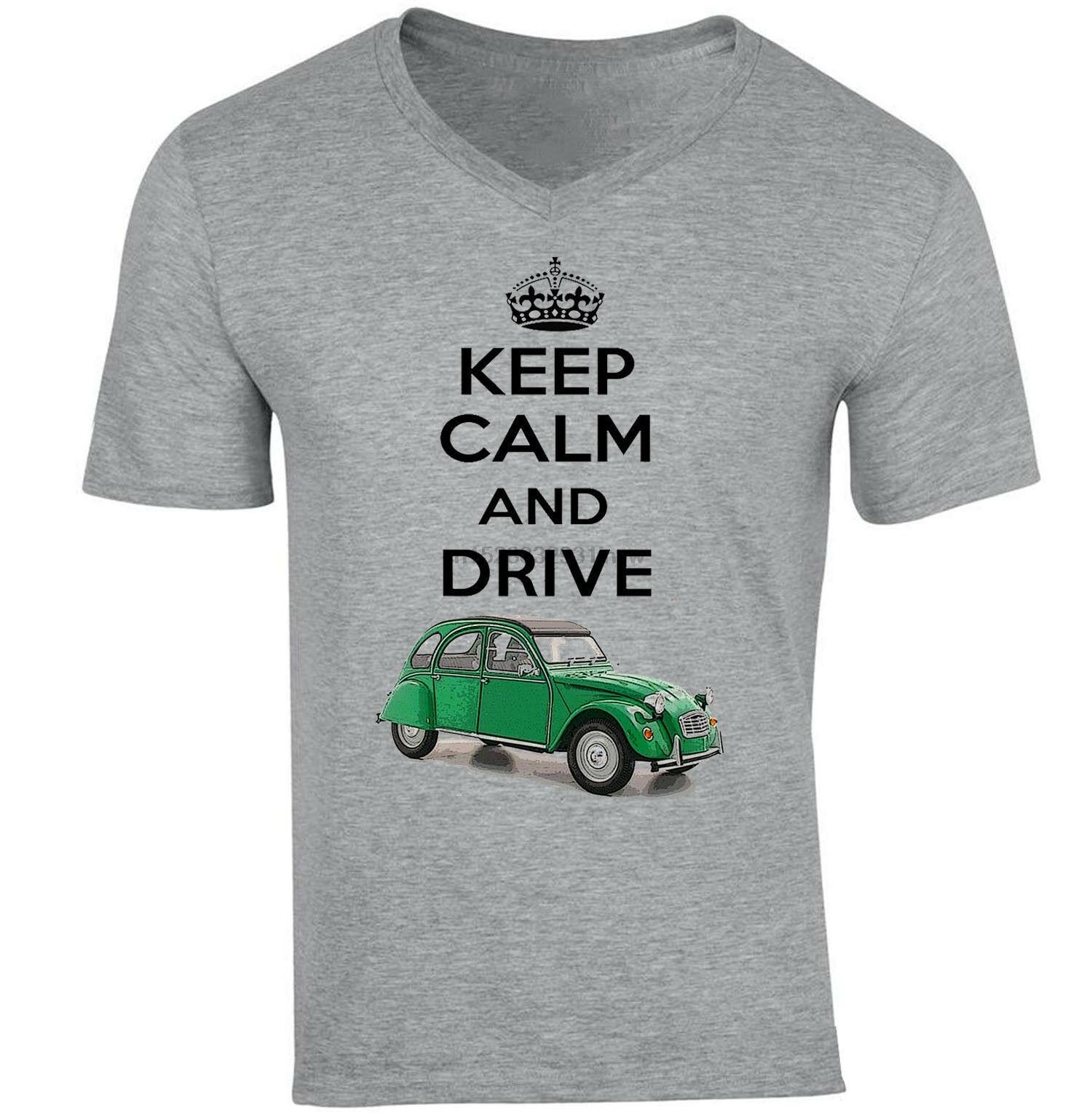Французская машина 2Cv 1948 Keep Calm-новая хлопковая серая футболка