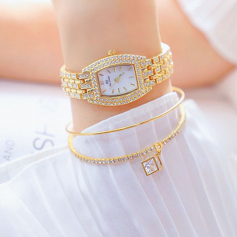 Gold Silver Women Watch Famous Luxury Brands Crystal Diamond Watch Fashion Ladies Quartz Wrist Watch Bracelet Gift Relogio