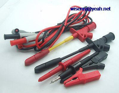 DHL/EMS 5*1 juego multímetro pluma Cables de perforación aislados pinza de cocodrilo gancho de prueba Probes-A7