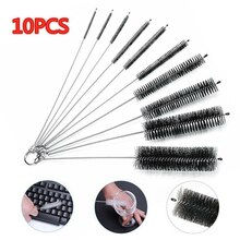 10 unids/set cepillo de paja de Nylon limpiador tubo de botella pequeña herramienta de limpieza larga equipo de tatuaje cepillo de aguja juego de limpieza