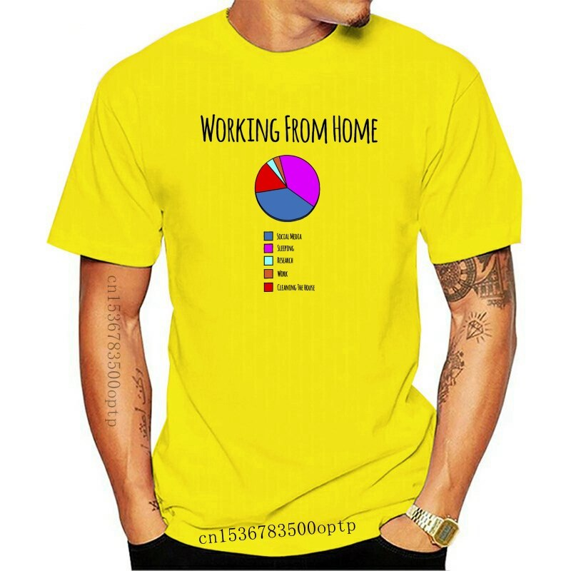 New Working From Home Pie Chart Procrastinate Self Employed Logo Nerd Mens T-Shirt
