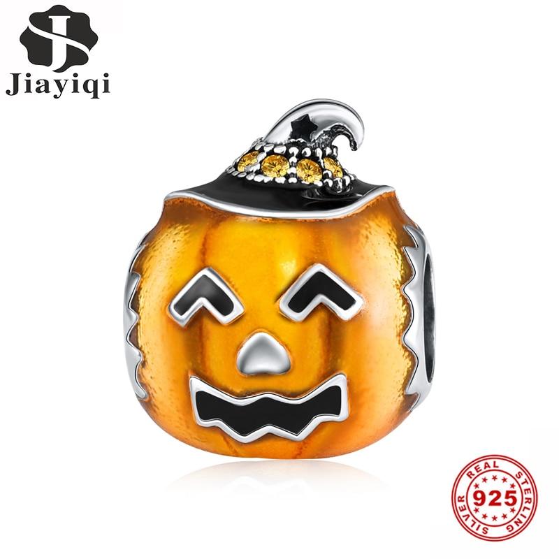 Jiayiqi, cabeza de calabaza, cuentas para aceite de Plata de Ley 925 con goteo naranja, apto para mujeres, Pulsera Original Joyería de Halloween regalo
