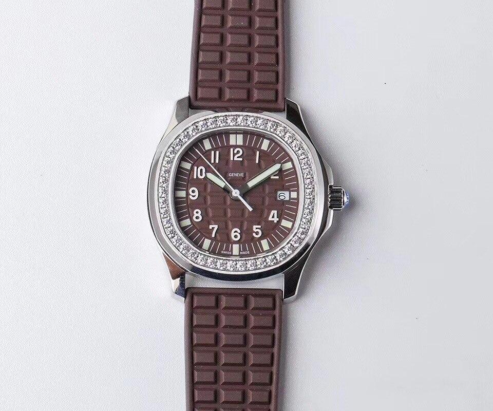 Topo da Marca Réplica Relógio Senhoras Patk Philippe Sports Series 5067a-023 Marrom Escuro Alta Imitação Automática Mecânica Feminino