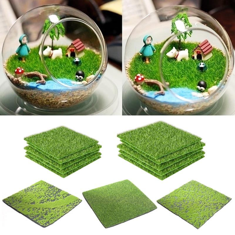 15X15cm césped Artificial alfombra de césped de plástico sintético Mini miniatura para jardín casa de muñecas DIY Micro paisaje hierba