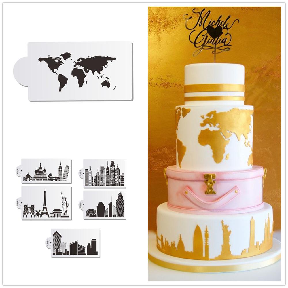 Карта мира и знаковое здание, трафарет для торта, новейший дизайн торта, трафарет для мастики, художественные трафареты, украшение торта, фо...