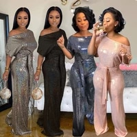 womens banquet evening dress autumn new one piece pants noble and elegant magic color laser sequins