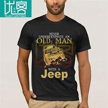 2020 nouvelle marque hommes T-Shirt été coton à manches courtes T-Shirt jamais sous-estimer un vieil homme avec une chemise Jeeps