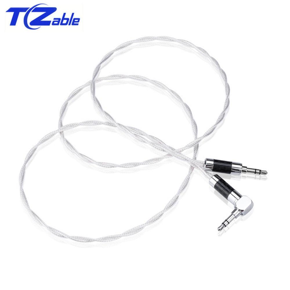 Hifi Fieber AUX Kabel 3,5 Jack Männlichen Zu Männlichen Reinem Silber Wichtigsten Core Siver-überzogene Screening Computer Lautsprecher Audio kabel