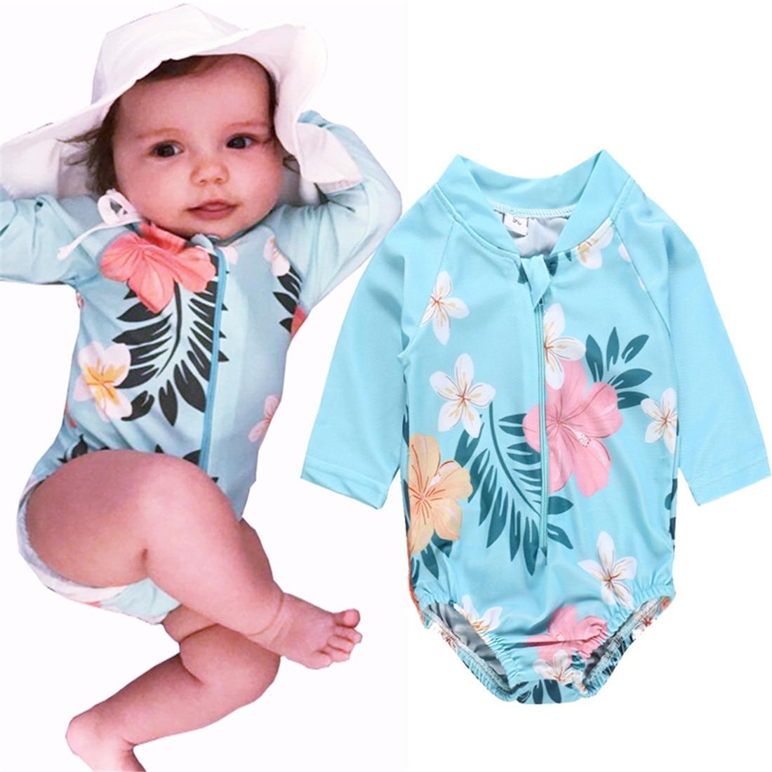 0-3T niño chico bebé niña verano manga larga Floral cremallera traje de baño azul traje de baño