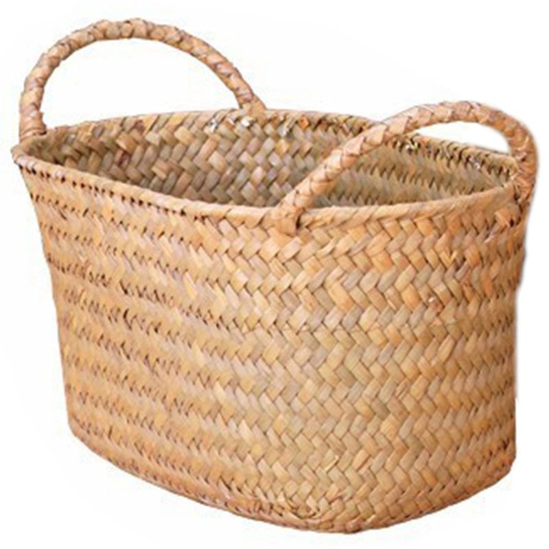 Cesta de mimbre para almacenamiento de tejido de mimbre para cocina, Plato de frutas hecho a mano, bandeja de mimbre para comida, pan, artículos variados, caja contenedor