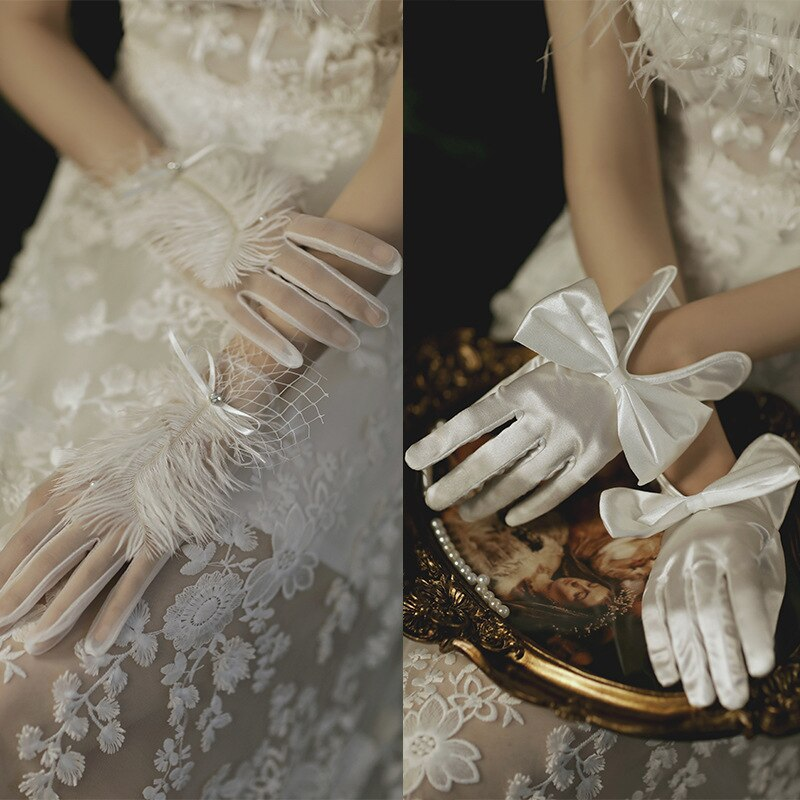 Elegant Wedding Gloves Petals Pearls Female Temperament Solid Color Bowknot Decoration Mesh Yarn Bride Dress Accessories