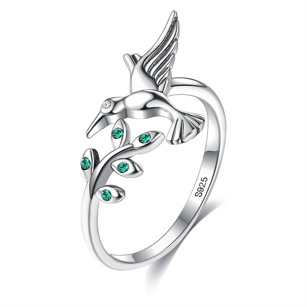 ZEMIOR Authentic 925 Sterling Silver Bird & Spring Tree Leaves Open Adjustable Rings For Women Engagement Fine Jewelry Hot Sale