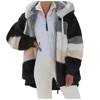 2021 new loose plush multicolor hooded fashion korean coat winter warm explosions autumn and winter coat women