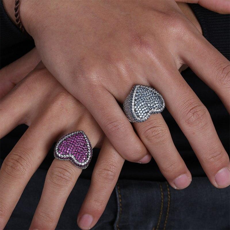 خاتم هيب هوب كبير للرجال والنساء ، خاتم على شكل قلب مرصع بأحجار تشيكوسلوفاكيا ، وردي وأبيض ، 2021