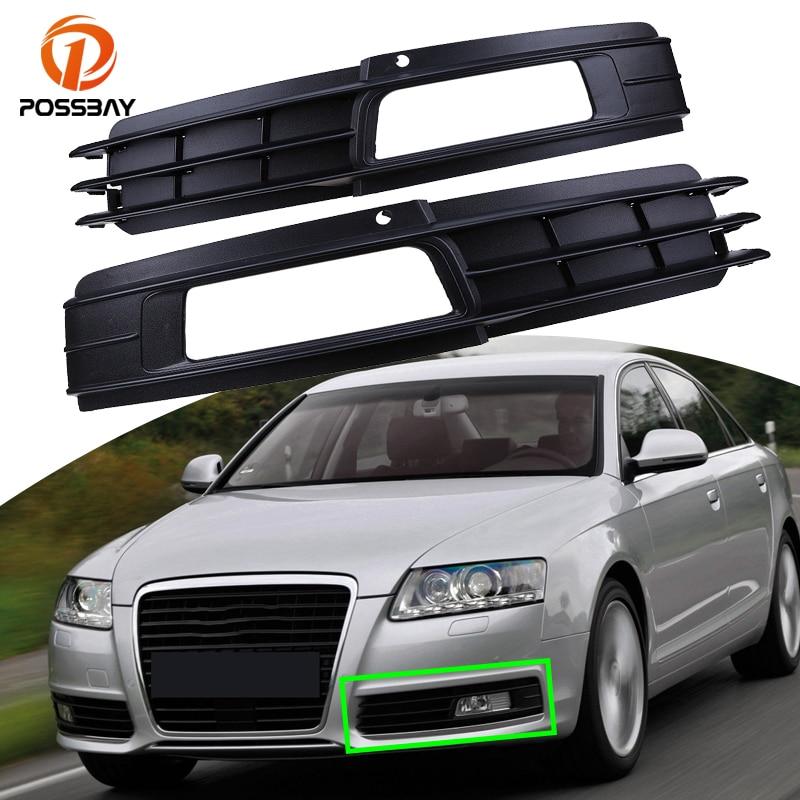 POSSBAY Car Fog Lights Front Lower Bumper Grills Grilles Cover for Audi A6 C6 Sedan/Avant 2008 2009 2010 2011 Exterior Parts