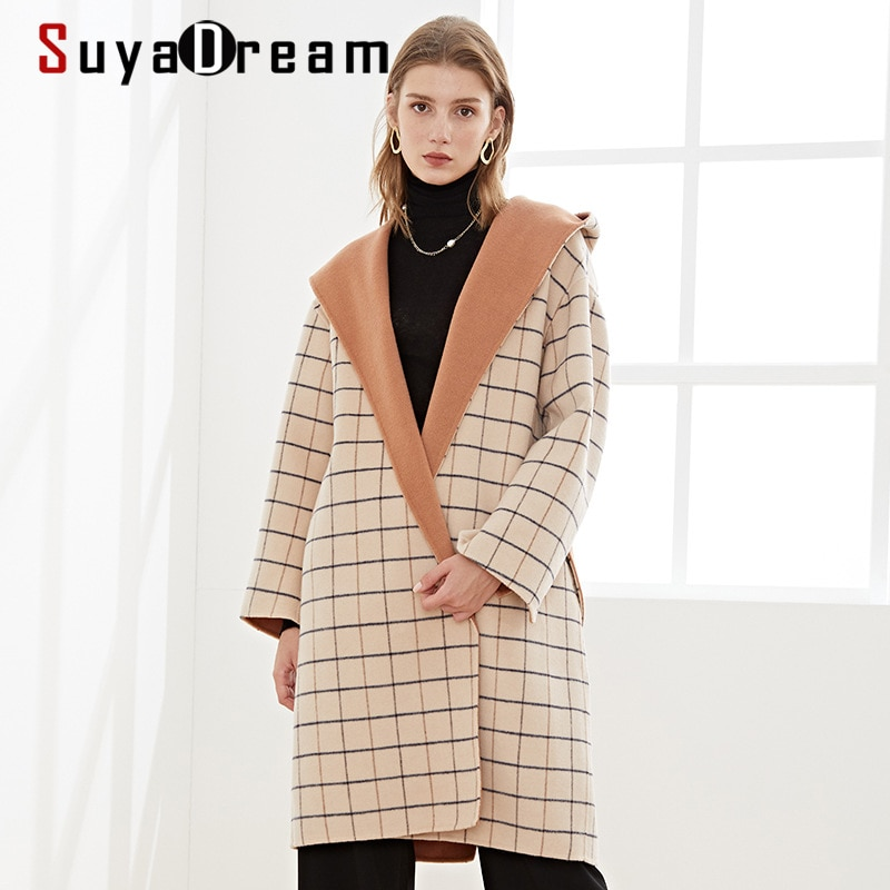SuyaDream Handmade 80%Wool 20%Poly Women Hooded Check Long Coat Elegant Plaid Wool Blend 2020 Warm Beige Sashes Winter Coat snap button hooded drop shoulder wool blend coat