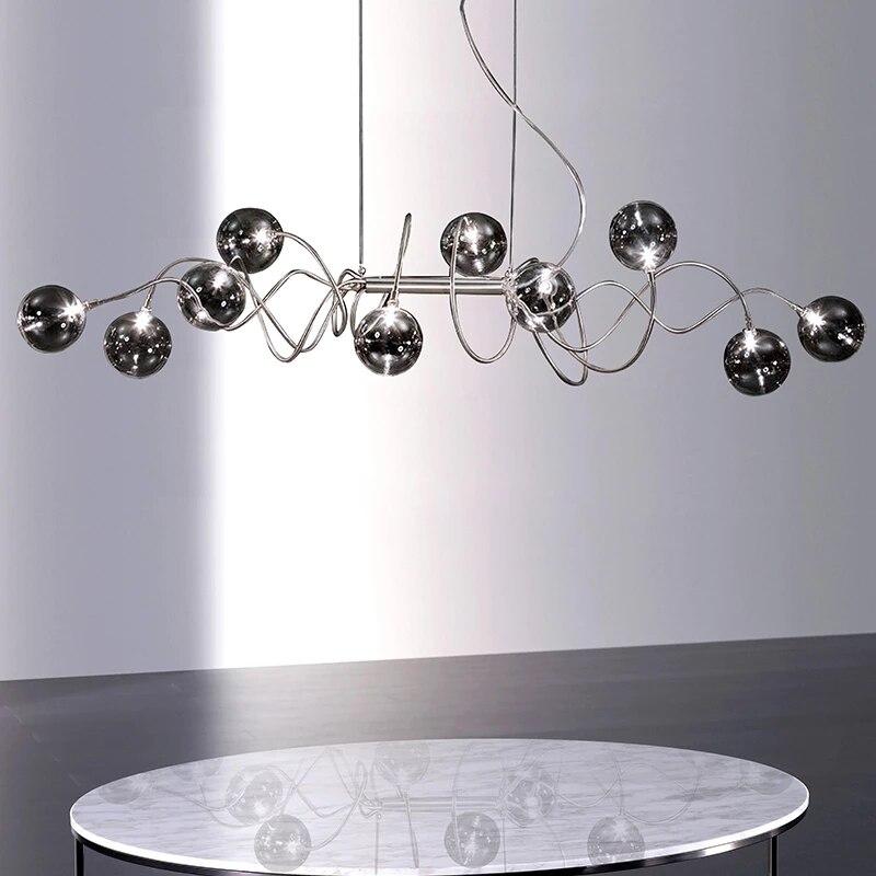 غرفة الطعام الزجاج الثريا الشمال ديكور المنزل مصابيح تعليق للزينة بار مقهى الدخان رمادي الحديثة مصمم قلادة LED مصابيح