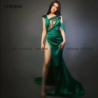 yipeisha emerald green evening dresses high slit prom gown custom made illusion satin party dress long robe de soiree