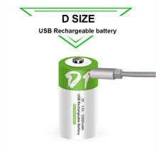D size Rechargeable battery 1.5V 12000mWh USB charging li-ion batteries for domestic water heater wi