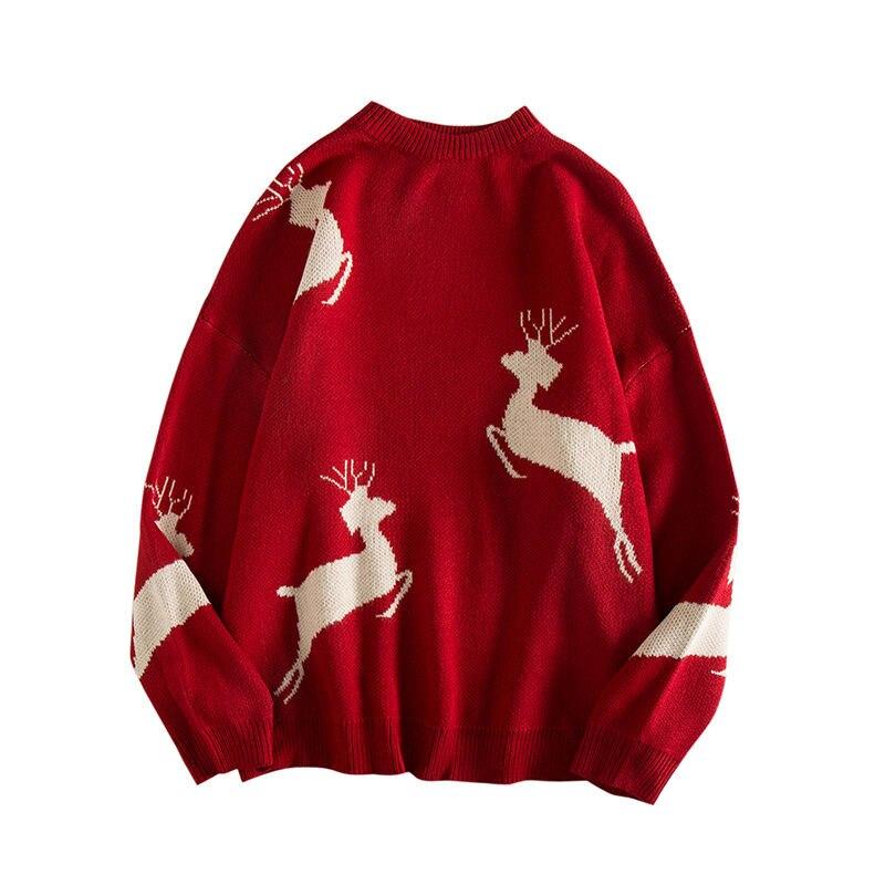 Осень-зима 2021, теплые свитера с длинным рукавом для мужчин, корейский пуловер с круглым вырезом и оленями для рождественской пары, черный и к...