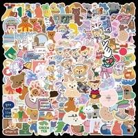 1050100190pcs cute color ins bear rabbit graffiti sticker aesthetic laptop guitar skateboard waterproof decal sticker kid toy