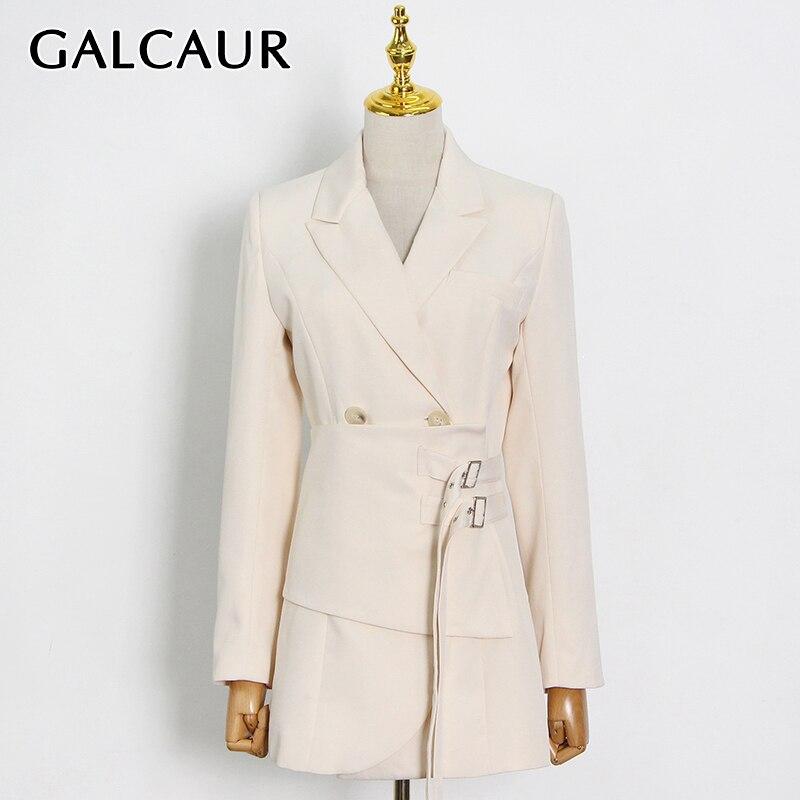 GALCAUR سترة نسائية للخروجات اليومية مرقعة بأزرار أكمام طويلة وياقة لطية صدر السترة للنساء موضة ربيع 2021